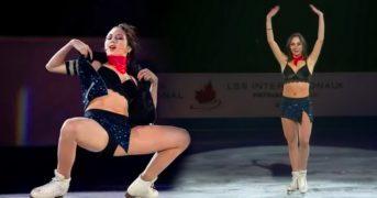 Российская фигуристка разделась до нижнего белья на льду в Канаде