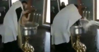 Священник чуть не утопил ребенка во время крещения (видео)